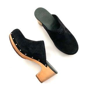 •UGG• Black Abbie heeled suede clogs